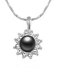 Lovely 18k White Gold Plated Austria Crystal Simulated Gray Pearl Sun Flower Pendant Necklace