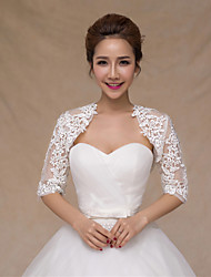 Wedding Wraps Boleros Half-Sleeve Lace/Satin Thin Bride Wraps White Bolero Shrug