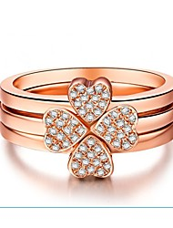 18K Rose Gold Plated Clover Jewelry Ring Three Rings in One Set Sterling Silver Rings Set for Women SONA Diamond Rings