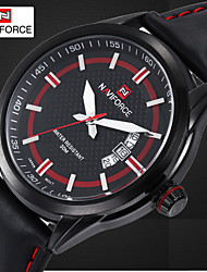 Men's Dress Watch Brand Design Quartz Watches Genuine Leather Band Waterproof Clock (Assorted Colors)