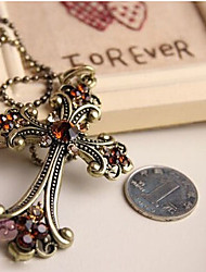 New Arrival Fashional Retro Crystal Cross Necklace