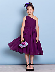 Tea-length Chiffon Junior Bridesmaid Dress A-line One Shoulder with Side Draping / Criss Cross