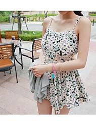 Vestidos ( Algodón )- Casual Tirantes Sin Mangas para Mujer