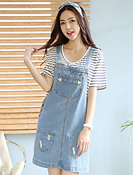 Women's Blue Denim Dress , Casual