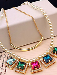 New Arrival Fashional Popular High Quality Created Crystal Pearl Necklace