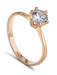T&C Women's Classic 18k Rose Gold Plated 6 Prong Sparkling Solitaire 1ct Cz Diamond Wedding Ring