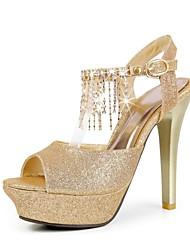 Women's Shoes Stiletto Heel Peep Toe/Platform/Ankle Strap/Slingback Sandals Dress Gold/Silver/Red
