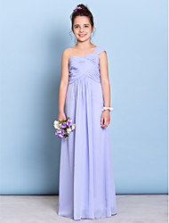 Lanting Bride® Floor-length Chiffon Junior Bridesmaid Dress Sheath / Column One Shoulder with Criss Cross