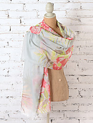 Summer Women Long Scarf 100% Polyester Flower Shawl