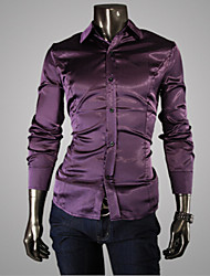 Men's Long Sleeve Shirt , Cotton Blend/Elastic/Satin/Silk Casual/Work/Formal/Plus Sizes Pure