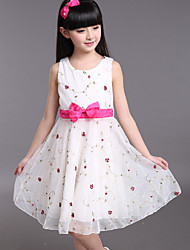 2015 Retail New Girls Party Princess Dress With Beautiful Print 4-12Y Cotton Tutu Dresses