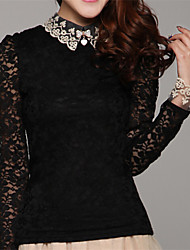 Women's Lace White/Black/Beige Blouse , Shirt Collar Long Sleeve Lace