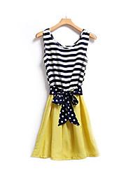 spring dress Women's Cute Round Sleeveless Dresses (Cotton Blend)