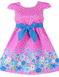 Girls Pink Dot Flower Print Party Princess Dresses (100% Cotton)