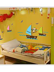 Обезьяна искать мечты лодках в море стене отличительные знаки съемные стикеры zooyoo7043 ПВХ животных стены декоративные DIY