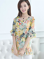 Women's Print Blue/Pink/Green Blouse , Round Neck/Stand ½ Length Sleeve Flower