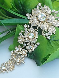 Wedding Accessories Gold-tone Clear Rhinestone Crystal Bridal Brooch Wedding Deco Orchid Flower Brooch Bridal Bouquet