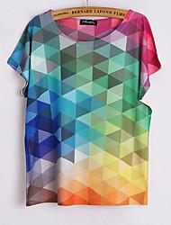 Meng Fei Lu Women's Box Digital Print Micro-elastic Short Sleeve Regular T-shirt(Cotton Blend)