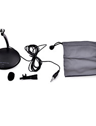 Adjustable Desktop 3.5mm Wired Microphone w/ Tie-Clip for PC - Black