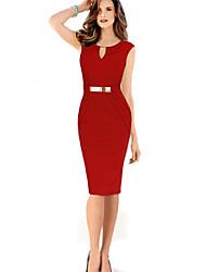 spring dress Women's Sexy V-Neck Sleeveless Dresses (Cotton Blend)