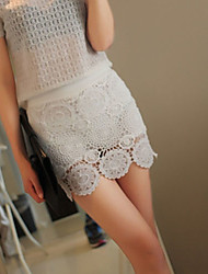 Women's White Skirts , Lace Above Knee