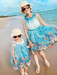 Ensembles de vêtements pour la famille Eté Sans Manches Mousseline de soie/Soie Fin Micro-élastique
