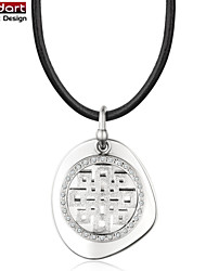316L Stainless Steel ChineseTotems Pendant with CZ Stones Set with Black Genuine Leather Necklace for Unisex