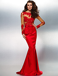 Formal Evening Dress - Ruby Trumpet/Mermaid Jewel Sweep/Brush Train Lace/Stretch Satin