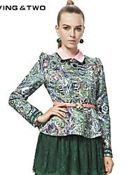 Damen Bluse  -  Blume Polyester/Baumwoll-Mischung Langarm Rundhalsausschnitt