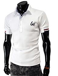 Men's Turn Down Collar Short Sleeve Pure Slim Polo Shirt