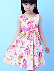 Girls  Pink Fashion Flower Pint Cotton Party Birthday Kids Clothing Dresses