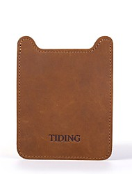 Unisex Cowhide Casual Card & ID Holder - Brown