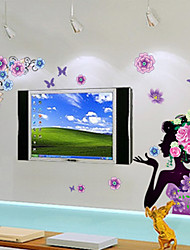 pegatinas de pared Adhesivos de pared, mujeres flores pegatinas de pared del pvc