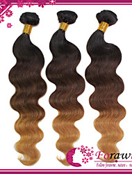 "300g/lot 12""-24"" 3 Tone 1B/4/27 Dark Brown Honey Blonde Brazilian Human Hair Body Wave Ombre Hair Weave"