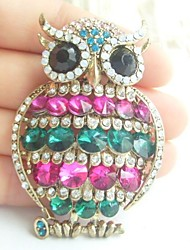 Women Accessories Gold-tone Multicolor Rhinestone Crystal Owl Brooch Art Deco Scarf Brooch Pin Women Jewelry