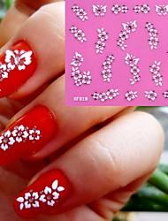 3D White Flowers Pattern Wedding Nail Art Sticker XF-018