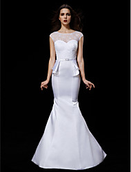 Lanting Bride® Trumpet / Mermaid Petite / Plus Sizes Wedding Dress Court Train Jewel Satin with