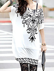 Women's Round Collar Totem Printing Cape Sleeve T Shirt