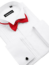 Anti-Wrinkle Custom Made Wedding Bridegroom Tuxedo Shirt Men Wedding Groom Dress Shirt Plus Size 3 Colors