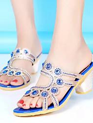Women's Shoes Chunky Heel Peep Toe/Comfort Sandals/Slippers Dress Black/Blue/Yellow/Pink