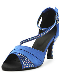 Kundenspezifische Frauen Satin Kristall Ankle Sandals Latin Dance Schuhe (weitere Farben)