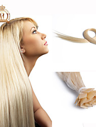 "20""inch Flat Tip Brazilian Virgin Hair Straight Human Hair Color #Platinum"