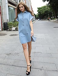 Women's Shirt Collar Dresses , Rayon Casual Short Sleeve JMDZ
