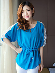 Women's Blue/Yellow Blouse , Casual ½ Length Sleeve