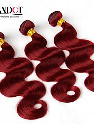 "3pcs lot 12 ""-28"" mongol paquetes armadura virginal del cuerpo del pelo onda ondulado vino borgoña 99j roja remy 6a cabello humano enredan"