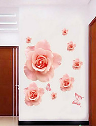 estilo calcomanías de pared pegatinas pared de color rosa romántico rosa flor de pared del pvc pegatinas