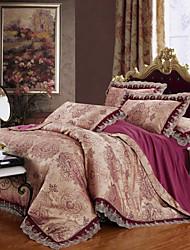 yuxin®tencel tecido de cetim jacquard série do casamento da cama modal uma família de quatro / queen / tamanho grande rei