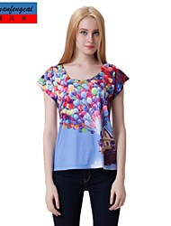 Camiseta estampada jersey cuello redondo camiseta delgada estilo coreano camiseta ocasional de cmfc®women todo-fósforo ropa superior