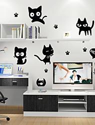 estilo decalques adesivos de parede parede gato preto adesivos de parede de pvc