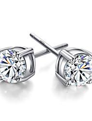 July 7th lover 925 Silver Four Claw Earrings Sterling Silver Stud Earrings
